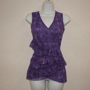 SWEET PEA Purple Watercolor Mesh Tiered Ruffle Top